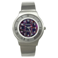 Cad Technology Circuit Board Layout Pattern Stainless Steel Watch by BangZart