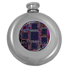 Cad Technology Circuit Board Layout Pattern Round Hip Flask (5 Oz) by BangZart