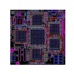 Cad Technology Circuit Board Layout Pattern Small Satin Scarf (square)