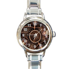 Brown Fractal Balls And Circles Round Italian Charm Watch by BangZart
