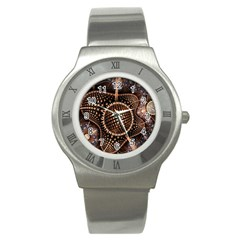 Brown Fractal Balls And Circles Stainless Steel Watch by BangZart