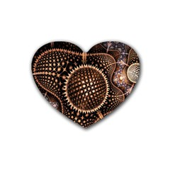 Brown Fractal Balls And Circles Rubber Coaster (heart)  by BangZart