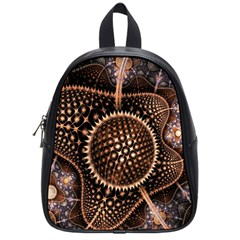 Brown Fractal Balls And Circles School Bags (small)  by BangZart