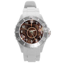 Brown Fractal Balls And Circles Round Plastic Sport Watch (l) by BangZart
