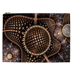 Brown Fractal Balls And Circles Cosmetic Bag (xxl)  by BangZart