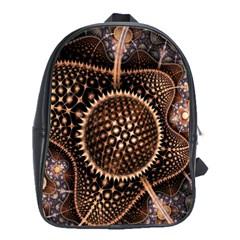 Brown Fractal Balls And Circles School Bags (xl)  by BangZart