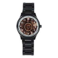 Brown Fractal Balls And Circles Stainless Steel Round Watch by BangZart