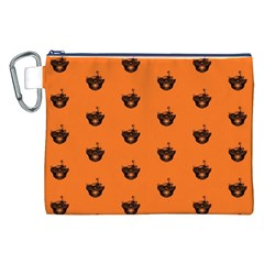 Funny Halloween   Burned Skull Pattern Canvas Cosmetic Bag (xxl) by MoreColorsinLife