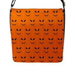 Funny Halloween   Face Pattern Flap Messenger Bag (l)  by MoreColorsinLife
