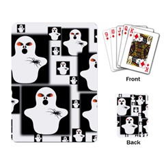 Funny Halloween   Ghost Pattern 2 Playing Card by MoreColorsinLife