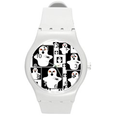 Funny Halloween   Ghost Pattern 2 Round Plastic Sport Watch (m) by MoreColorsinLife
