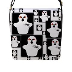 Funny Halloween   Ghost Pattern 2 Flap Messenger Bag (l)  by MoreColorsinLife