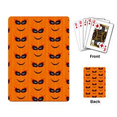 Funny Halloween   Face Pattern 2 Playing Card by MoreColorsinLife