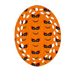 Funny Halloween   Face Pattern 2 Oval Filigree Ornament (two Sides) by MoreColorsinLife
