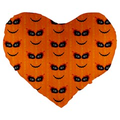 Funny Halloween   Face Pattern 2 Large 19  Premium Heart Shape Cushions by MoreColorsinLife