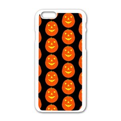 Funny Halloween   Pumpkin Pattern 2 Apple Iphone 6/6s White Enamel Case by MoreColorsinLife