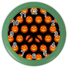 Funny Halloween   Pumpkin Pattern Color Wall Clocks by MoreColorsinLife