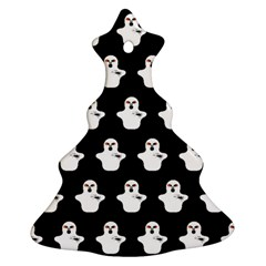 Funny Halloween   Ghost Pattern Christmas Tree Ornament (two Sides) by MoreColorsinLife
