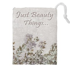 Shabby Chic Style Motivational Quote Drawstring Pouches (xxl) by dflcprints