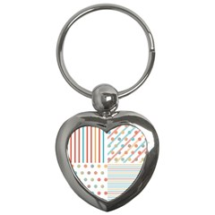 Simple Saturated Pattern Key Chains (heart)  by linceazul