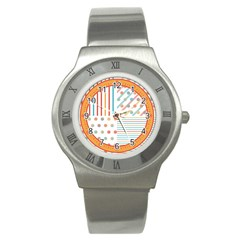 Simple Saturated Pattern Stainless Steel Watch by linceazul