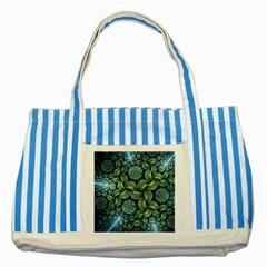Blue Lotus Striped Blue Tote Bag by BangZart