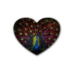Beautiful Peacock Feather Heart Coaster (4 Pack)  by BangZart