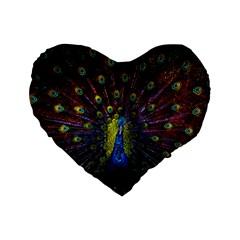 Beautiful Peacock Feather Standard 16  Premium Flano Heart Shape Cushions by BangZart