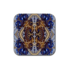 Baroque Fractal Pattern Rubber Square Coaster (4 Pack)  by BangZart