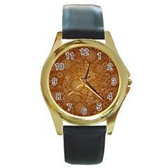 Batik Art Pattern Round Gold Metal Watch by BangZart
