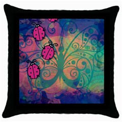 Background Colorful Bugs Throw Pillow Case (black) by BangZart
