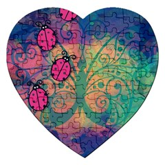 Background Colorful Bugs Jigsaw Puzzle (heart) by BangZart