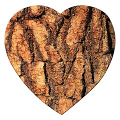 Bark Texture Wood Large Rough Red Wood Outside California Jigsaw Puzzle (heart) by BangZart