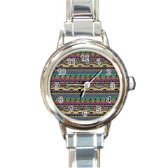 Aztec Pattern Cool Colors Round Italian Charm Watch by BangZart