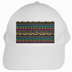 Aztec Pattern Cool Colors White Cap by BangZart