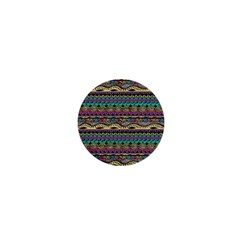 Aztec Pattern Cool Colors 1  Mini Buttons by BangZart