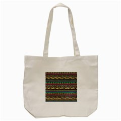 Aztec Pattern Cool Colors Tote Bag (cream) by BangZart