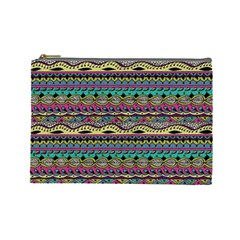 Aztec Pattern Cool Colors Cosmetic Bag (large)  by BangZart