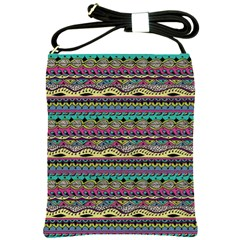 Aztec Pattern Cool Colors Shoulder Sling Bags by BangZart