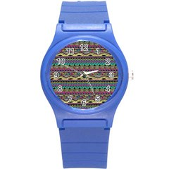 Aztec Pattern Cool Colors Round Plastic Sport Watch (s) by BangZart