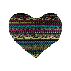 Aztec Pattern Cool Colors Standard 16  Premium Heart Shape Cushions by BangZart