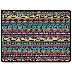 Aztec Pattern Cool Colors Double Sided Fleece Blanket (large)  by BangZart