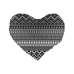 Aztec Pattern Design(1) Standard 16  Premium Flano Heart Shape Cushions by BangZart