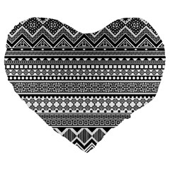Aztec Pattern Design(1) Large 19  Premium Flano Heart Shape Cushions by BangZart