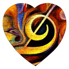 Art Oil Picture Music Nota Jigsaw Puzzle (heart) by BangZart
