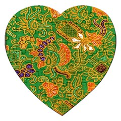 Art Batik The Traditional Fabric Jigsaw Puzzle (heart) by BangZart