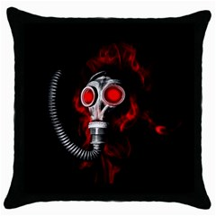 Gas Mask Throw Pillow Case (black) by Valentinaart