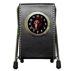 Gas Mask Pen Holder Desk Clocks by Valentinaart