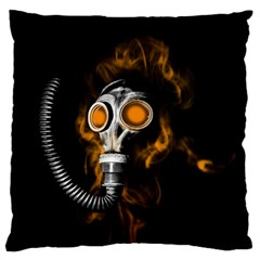 Gas Mask Large Flano Cushion Case (two Sides) by Valentinaart
