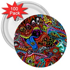 Art Color Dark Detail Monsters Psychedelic 3  Buttons (100 Pack)  by BangZart